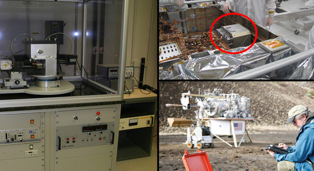 A conventional X-ray diffraction instrument (left), Chemistry and Mineralogy (CheMin) instrument on NASA's Curiosity rover (top right) and the spin-off commercial portable instrument (lower right).