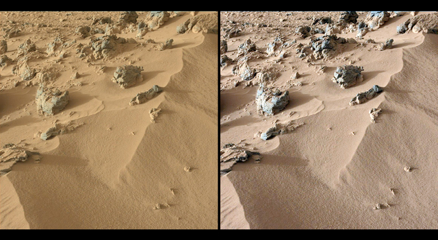 This pair of images from the Mast Camera on NASA's Curiosity rover shows the upper portion of a wind-blown deposit dubbed 'Rocknest.'