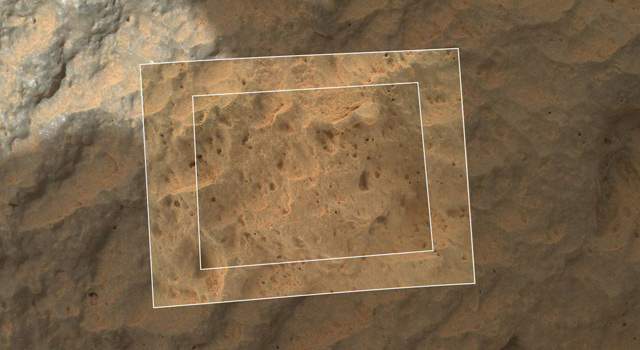 This image combines photographs taken by the Mars Hand Lens Imager