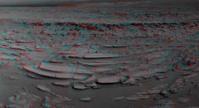 Sol 120 Panorama from Curiosity, near 'Shaler' (Stereo)