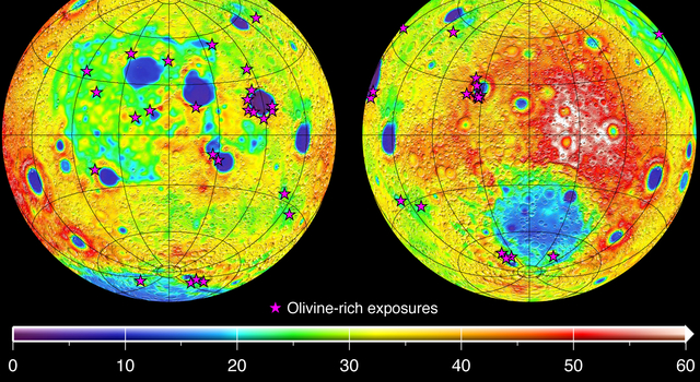 Olivine Materials Map to Thin Moon Crust