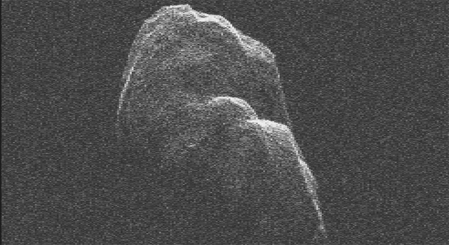 Radar imagery of asteroid Toutatis taken by NASA's Goldstone Solar System Radar on Dec. 12 and 13, 2012.