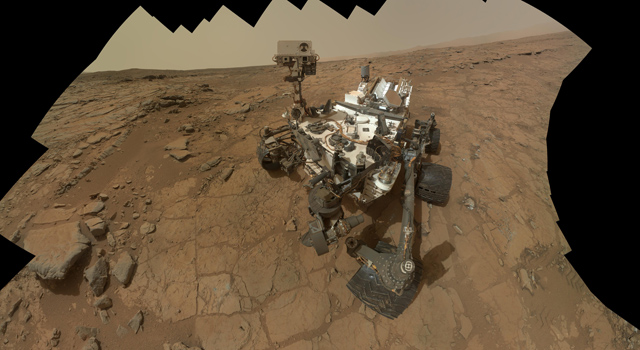 This self-portrait of NASA's Mars rover Curiosity combines 66 exposures