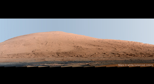 A white-balanced mosaic of Mars' Mt. Sharp from NASA's Mars rover Curiosity