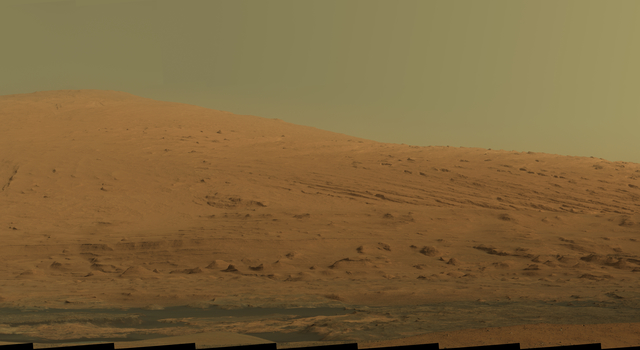 A raw-image mosaic of Mars' Mt. Sharp from NASA's Mars rover Curiosity