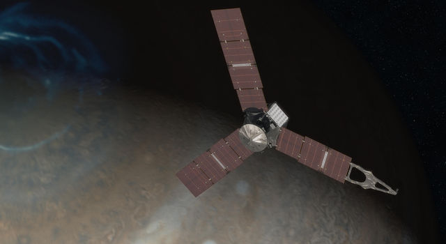 Artist's rendering showing NASA's Juno spacecraft