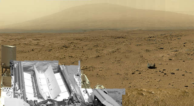 This is a reduced version of panorama from NASA's Mars rover Curiosity with 1.3 billion pixels in the full-resolution version.