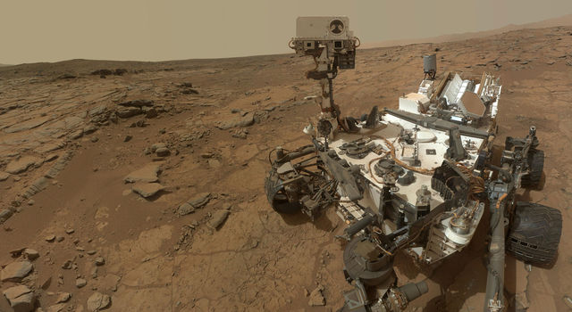 This self-portrait of NASA's Mars rover Curiosity combines dozens of exposures
