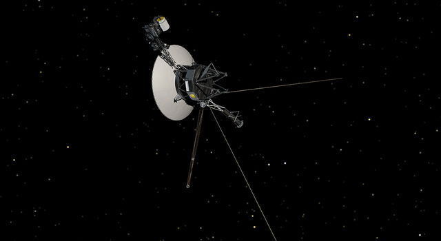 Illustration of  Voyager spacecraft against a backdrop of stars