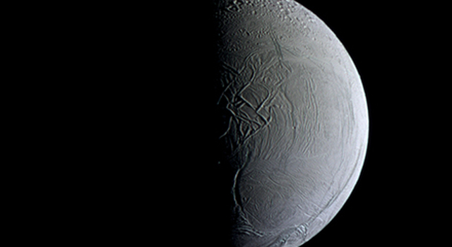 NASA's Cassini captures a still and partially sunlit Enceladus
