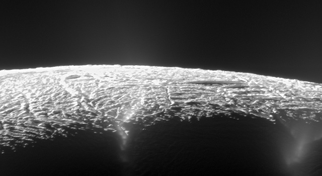 Elevated View of Enceladus' South Pole
