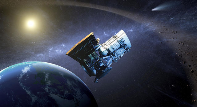 This artist's concept shows the Wide-field Infrared Survey Explorer, or WISE spacecraft