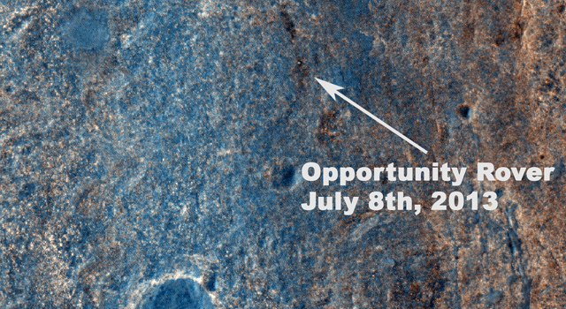 Color View From Orbit Showing Opportunity in 'Botany Bay'