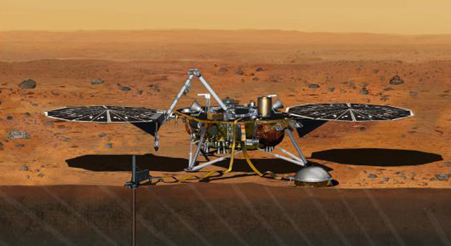 Artist rendition of the proposed InSight (Interior exploration using Seismic Investigations)