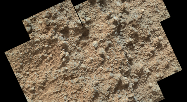 Pebbly Sandstone Conglomerate Rock at Curiosity's Waypoint 1