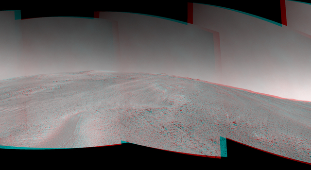 NASA's Mars Exploration Rover Opportunity captured this southward uphill view after beginning to ascend the northwestern slope of 'Solander Point' on the western rim of Endeavour Crater