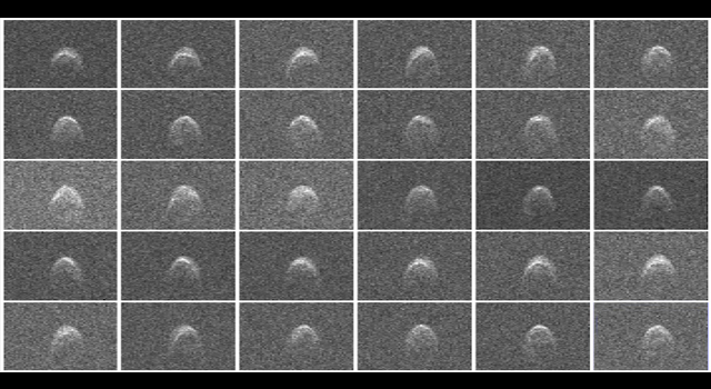 Radar images of asteroid 2005 WK4 were obtained on Aug. 8, 2013.