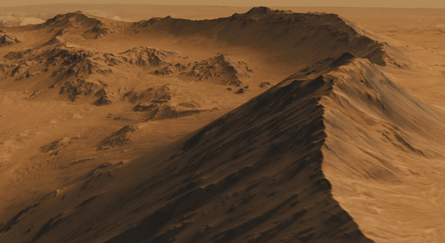 Screen shot from a high-definition simulated movie of Mojave Crater on Mars