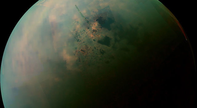 This false-color mosaic, made from infrared data collected by NASA's Cassini spacecraft, reveals the differences in the composition of surface materials around hydrocarbon lakes at Titan, Saturn's largest moon.