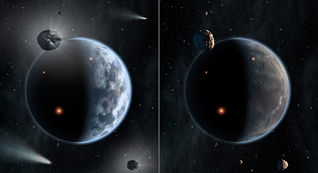 This artist's concept illustrates the fate of two different planets: the one on the left is similar to Earth, made up largely of silicate-based rocks with oceans coating its surface