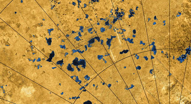 Radar images from NASA's Cassini spacecraft reveal many lakes on Titan's surface