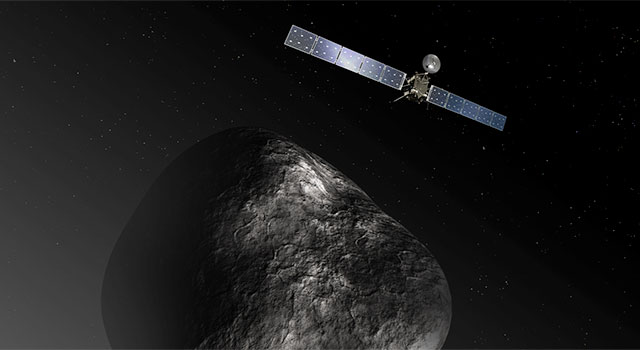 This artist's impression shows the Rosetta orbiter at comet 67P/Churyumov-Gerasimenko.