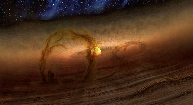Loops of Gas and Dust Rise from Planetary Disks