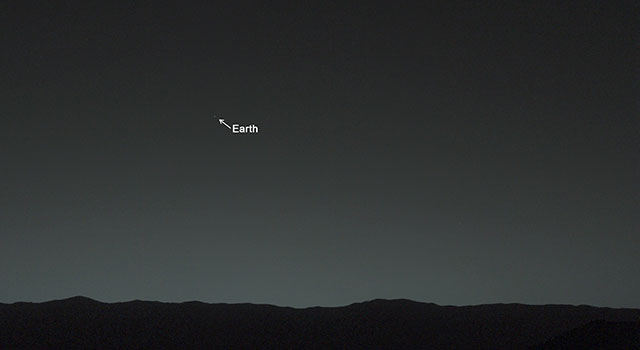 Curiosity Mars Rover's First Image of Earth and Earth's Moon