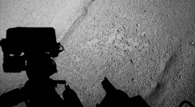 Curiosity Mars Rover's Shadow After Long Backward Drive