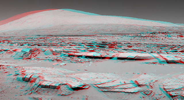 Martian Landscape With Rock Rows and Mount Sharp (Stereo)