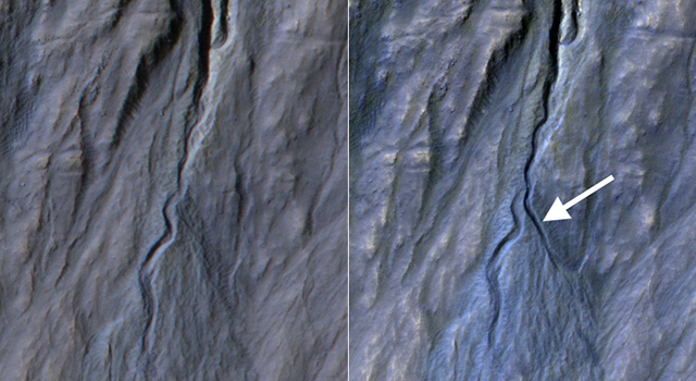 Reconnaissance Orbiter documents formation of a new channel on a Martian slope between 2010 and 2013