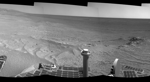 Opportunity's tracks near crater