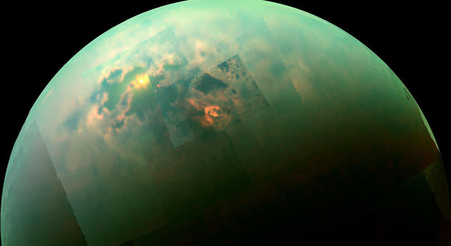 Sunlight glints off of Titan's northern seas this near-infrared