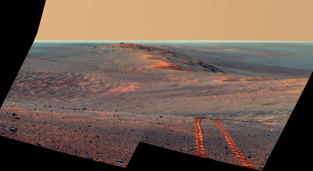 Rover Tracks in Northward View Along West Rim of Endeavour, False Color