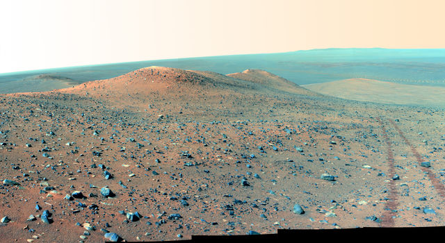 Opportunity's View of 'Wdowiak Ridge' (False Color)