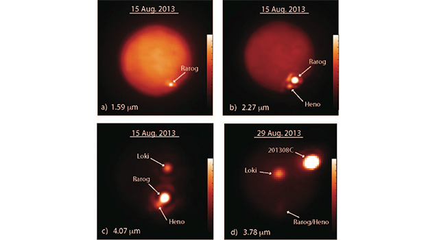 These images show Jupiter's moon Io obtained at different infrared wavelengths