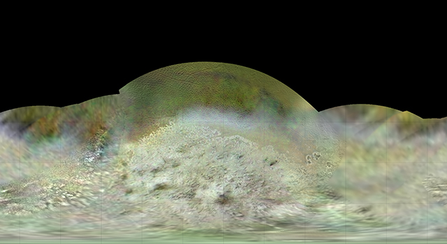 The Voyager 2 spacecraft flew by Triton, a moon of Neptune, in the summer of 1989.