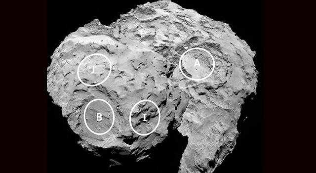 Four Rosetta Candidate Landing Sites