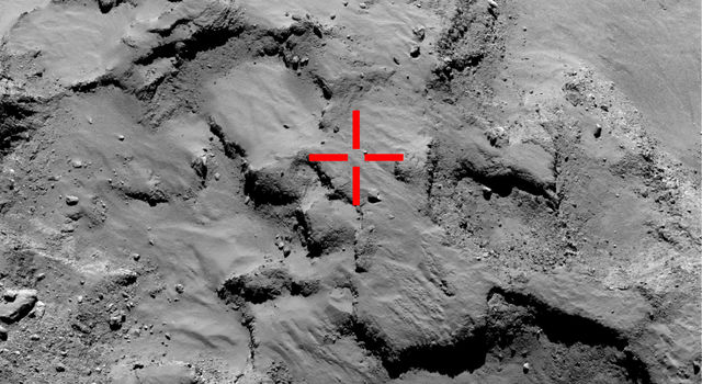 Image of the first touchdown site for the Rosetta spacecraft's Philae lander on comet 67P/Churyumov-Gerasimenko