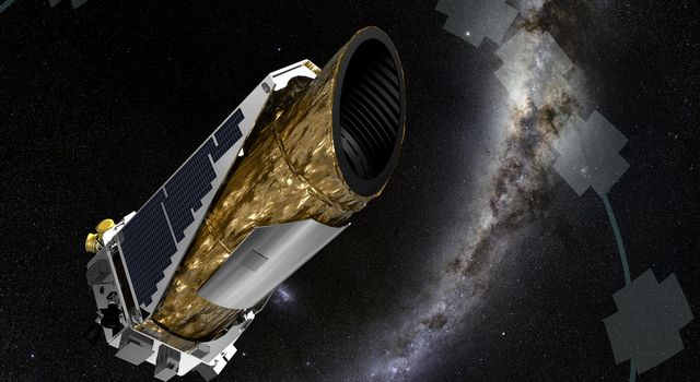 The artistic concept shows NASA's planet-hunting Kepler spacecraft operating in a new mission profile called K2.