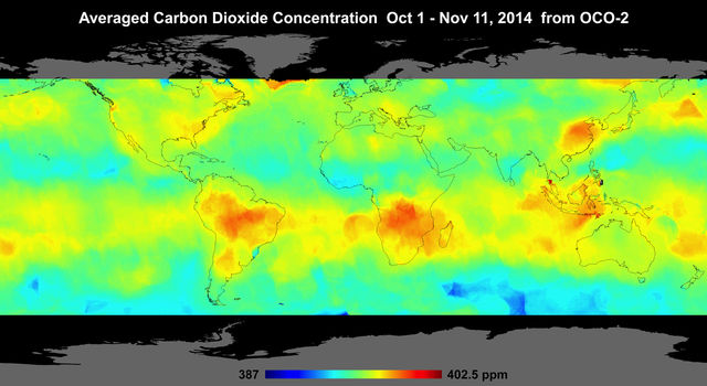 Global atmospheric carbon dioxide concentrations