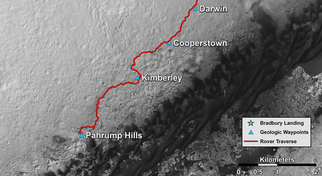Curiosity Mars Rover's Route from Landing to Base of Mount Sharp