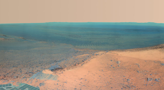High Martian Viewpoint for Opportunity (False Color)