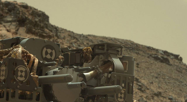 Curiosity's Drill After Drilling at 'Telegraph Peak'