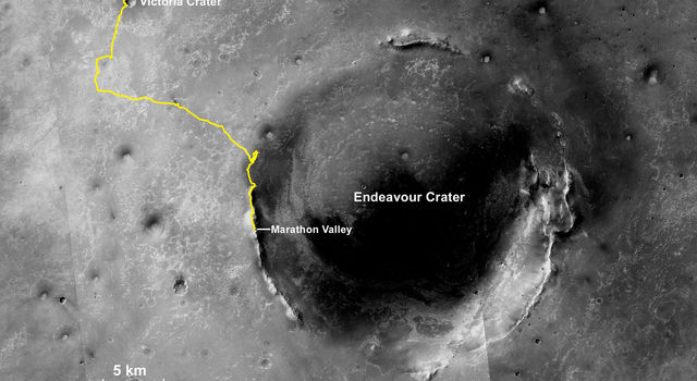 Opportunity Mars rover, working on Mars since January 2004, passed marathon distance