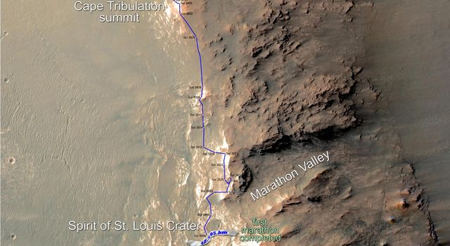 Opportunity Rover Surpasses Marathon Distance