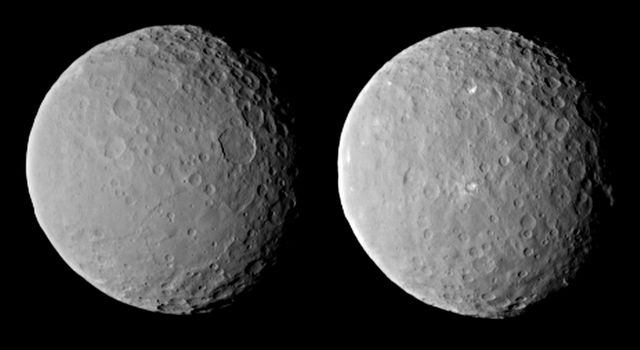 These images of dwarf planet Ceres, processed to enhance clarity