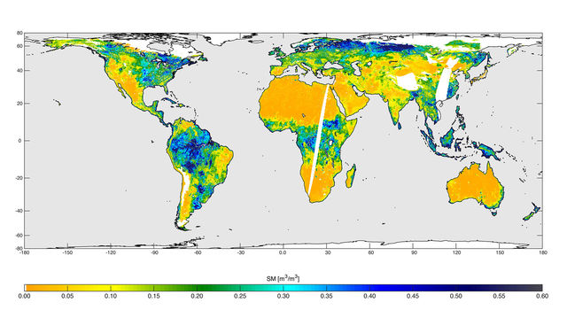High-resolution global soil moisture map from SMAP's combined radar and radiometer instruments
