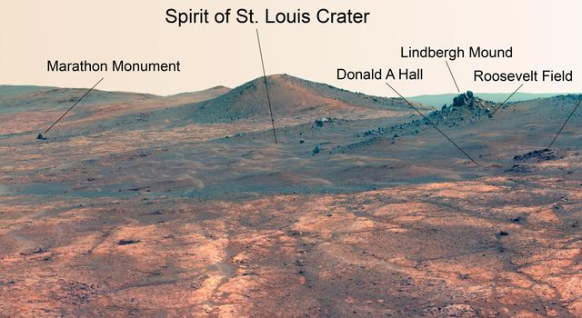 Rock Spire in 'Spirit of St. Louis Crater' on Mars (False Color)