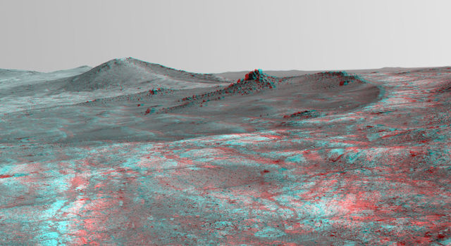 Rock Spire in 'Spirit of St. Louis Crater' on Mars (Stereo)